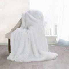 Koc o strukturze miękkiego futra na fotel biały 70x150cm - 70 X 160 cm - biały/srebrny 3