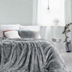 Stalowy koc futerkowy Tiffany ze srebrną nicią 150x200 cm Design91 - 150 X 200 cm - stalowy 1