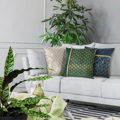 Poszewka dekoracyjna na poduszkę 45 x 45 kolor zielony/złoty - 45x45 - zielony / złoty 3