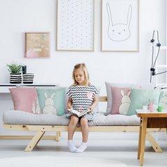 Poszewka na poduszkę miętowo-różowa z królikami 40 x 40 cm  - 40x40 - różowy 4