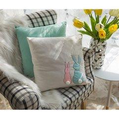 Poszewka na poduszkę miętowo-różowa z królikami 40 x 40 cm  - 40x40 - różowy 5