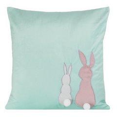 Poszewka na poduszkę miętowo-różowa z królikami 40 x 40 cm  - 40x40 - różowy 1