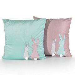 Poszewka na poduszkę miętowo-różowa z królikami 40 x 40 cm  - 40x40 - różowy 2