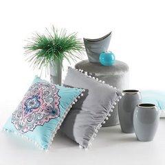 Poszewka na poduszkę orientalny wzór srebrno różowa 40 x 40 cm  - 40x40 - srebrny / różowy 3