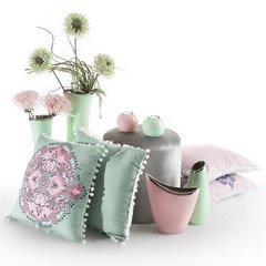 Poszewka na poduszkę orientalny wzór zielono różowa 40 x 40 cm  - 40x40 - zielony / różowy 4