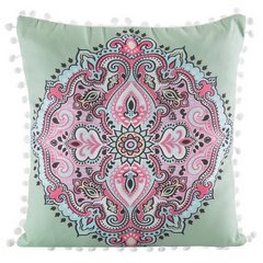 Poszewka na poduszkę orientalny wzór zielono różowa 40 x 40 cm  - 40x40 - zielony / różowy 1