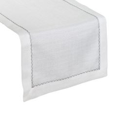 Biały bieżnik do jadalni ze srebrną koronką 40x140 cm - 40 X 140 cm - ecru/srebrny 1