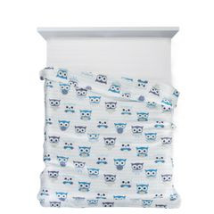 Narzuta dziecięca kolorowe sówki 170x210cm - 170 X 210 cm - biały/niebieski 2