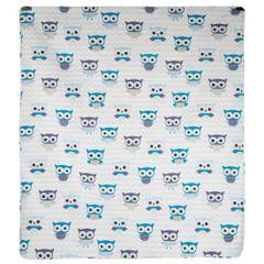 Narzuta dziecięca kolorowe sówki 170x210cm - 170 X 210 cm - biały/niebieski 3