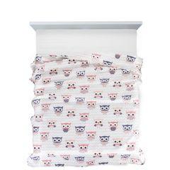 Narzuta dziecięca różowe sówki 170x210cm - 170 X 210 cm - biały/różowy/fioletowy 2