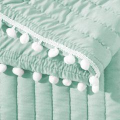 Narzuta na łóżko pikowana pomponiki 220x240 cm miętowa - 220 X 240 cm - miętowy 4