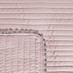 Narzuta na łóżko pikowana pomponiki 220x240 cm różowa - 220x240 - różowy / srebrny 4