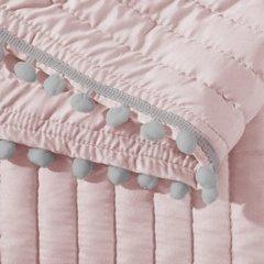 Narzuta na łóżko pikowana pomponiki 220x240 cm różowa - 220 X 240 cm - różowo/srebrny 4