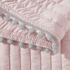 Narzuta na łóżko pikowana pomponiki 220x240 cm różowa - 220x240 - różowy / srebrny 2