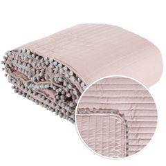 Narzuta na łóżko pikowana pomponiki 220x240 cm różowa - 220 X 240 cm - różowo/srebrny 2