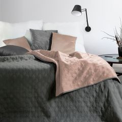 Narzuta pikowana w geometryczny wzór termozgrzwana stalowo-różowy 220x240cm - 220 X 240 cm - stalowy/różowy 1