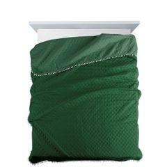 Narzuta zdobiona na brzegach pomponami termozgrzewana zielony 220x240cm - 220 X 240 cm - zielony 2