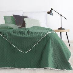 Narzuta zdobiona na brzegach pomponami termozgrzewana zielona 170x210cm - 170x210 - zielony 1