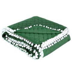 Narzuta zdobiona na brzegach pomponami termozgrzewana zielona 170x210cm - 170x210 - zielony 2