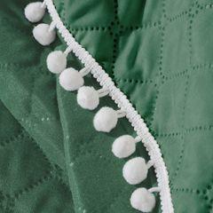 Narzuta zdobiona na brzegach pomponami termozgrzewana zielona 170x210cm - 170x210 - zielony 4