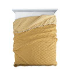Narzuta zdobiona na brzegach pomponami termozgrzewana żółty 220x240cm - 220 X 240 cm - żółty 2