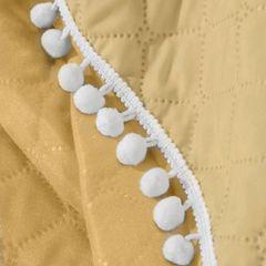 Narzuta zdobiona na brzegach pomponami termozgrzewana żółty 220x240cm - 220 X 240 cm - żółty 6
