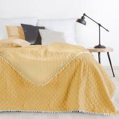 Narzuta zdobiona na brzegach pomponami termozgrzewana żółty 170x210cm - 170x210 - żółty 3
