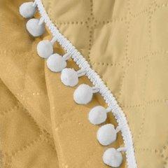 Narzuta zdobiona na brzegach pomponami termozgrzewana żółty 170x210cm - 170 X 210 cm - żółty 6