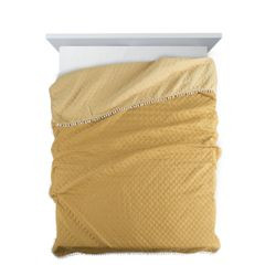 Narzuta zdobiona na brzegach pomponami termozgrzewana żółty 170x210cm - 170 X 210 cm - żółty 2