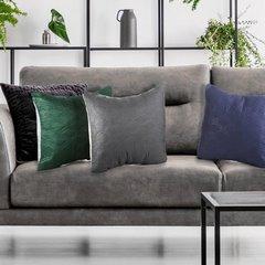Poszewka pikowana wzór geometryczny termozgrzewana zielono-srebrna 40x40cm - 40 X 40 cm - zielony/popielaty 5