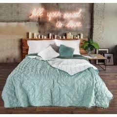 Narzuta na łóżko przeszywana dwustronna 170x210 cm miętowo-srebrna - 170 X 210 cm - miętowy 1