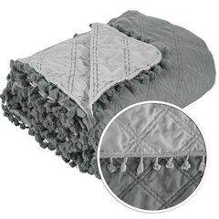 Narzuta na łóżko przeszywana dwustronna 170x210 cm stalowo-srebrny - 170 X 210 cm - stalowy/srebrny 6