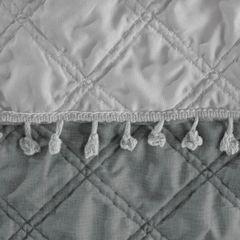 Narzuta na łóżko przeszywana dwustronna 170x210 cm stalowo-srebrny - 170 X 210 cm - stalowy/srebrny 3