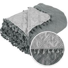 Narzuta na łóżko przeszywana dwustronna 170x210 cm stalowo-srebrny - 170x210 - szary / srebrny 2