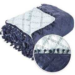 Narzuta na łóżko przeszywana dwustronna 170x210 cm granatowo-błękitna - 170 X 210 cm - granatowy 4