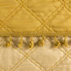 Narzuta na łóżko przeszywana dwustronna 170x210 cm żółta - 170 X 210 cm - żółty 3