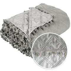 Narzuta na łóżko przeszywana romby 170x210 cm beżowa - 170 X 210 cm - beżowy 4