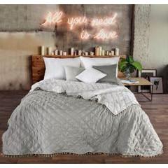 Narzuta na łóżko przeszywana romby 220x240 cm beżowa - 220x240 - beżowy 4