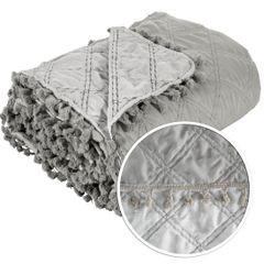 Narzuta na łóżko przeszywana romby 220x240 cm beżowa - 220 X 240 cm - beżowy 4