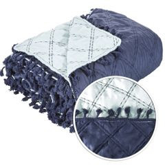 Narzuta na łóżko przeszywana dwustronna 220x240 cm granatowo-błękitna - 220 X 240 cm - granatowy 4