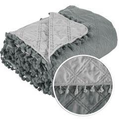 Narzuta na łóżko przeszywana dwustronna 220x240 cm stalowo-srebrny - 220 X 240 cm - stalowy/srebrny 4