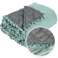 Narzuta na łóżko przeszywana dwustronna 220x240 cm miętowo-stalowa - 220 X 240 cm - miętowy/stalowy 6