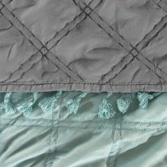 Narzuta na łóżko przeszywana dwustronna 220x240 cm miętowo-stalowa - 220 X 240 cm - miętowy/stalowy 3