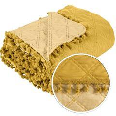 Narzuta na łóżko przeszywana dwustronna 220x240 cm żółta - 220 X 240 cm - żółty 4