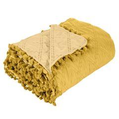 Narzuta na łóżko przeszywana dwustronna 220x240 cm żółta - 220 X 240 cm - żółty 1