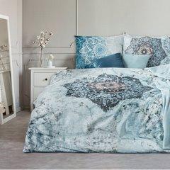 Komplet pościeli bawełnianej 160 x 200, 2 szt. 70 x 80 nadruk przecierany mandala hiszpańska bawełna - 160x200 - niebieski 1