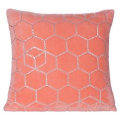 Dekoracyjna koralowa poszewka z geometrycznym wzorem 40x40 cm - 40 X 40 cm - koralowy/srebrny 4