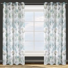 Zasłona z motywem roślinnym przelotki 140x250 cm  - 140x250 - Biały / Niebieski 3