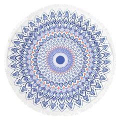 Okrągły ręcznik plażowy z mikrofibry z frędzlami o średnicy 150 cm - średnica 150 cm - biały / niebieski 1
