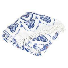 Okrągły ręcznik plażowy z mikrofibry z frędzlami o średnicy 150 cm - średnica 150 cm - biały / niebieski 2